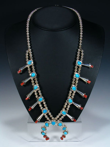 Native American Turquoise and Coral Squash Blossom Necklace and Earrings Set