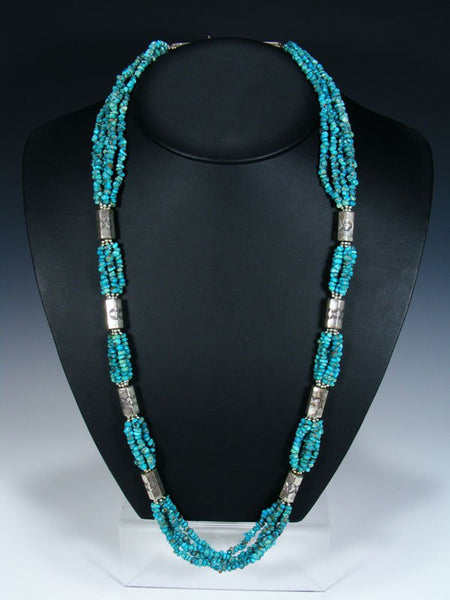 Estate Native American Multi-Strand Lone Mountain Turquoise Necklace
