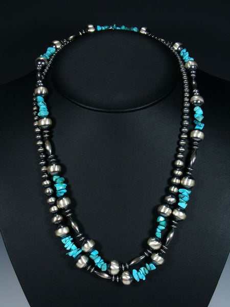 Extra Long Wrap Native American Turquoise and Silver Bead Necklace