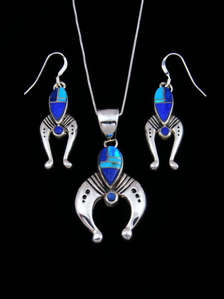 Navajo Lapis and Opal Inlay Necklace and Earrings Naja Set