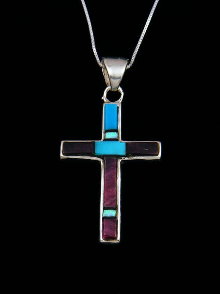 Navajo Spiny Oyster Sterling Silver Cross Inlay Pendant