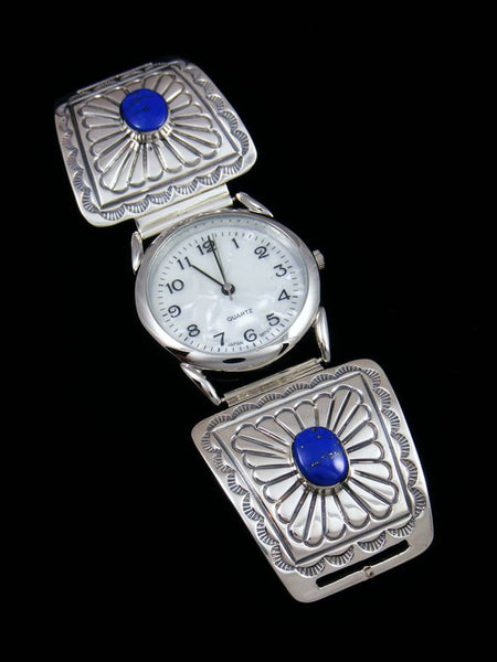 Native American Indian Jewelry Sterling Silver Inlay Mens Watch