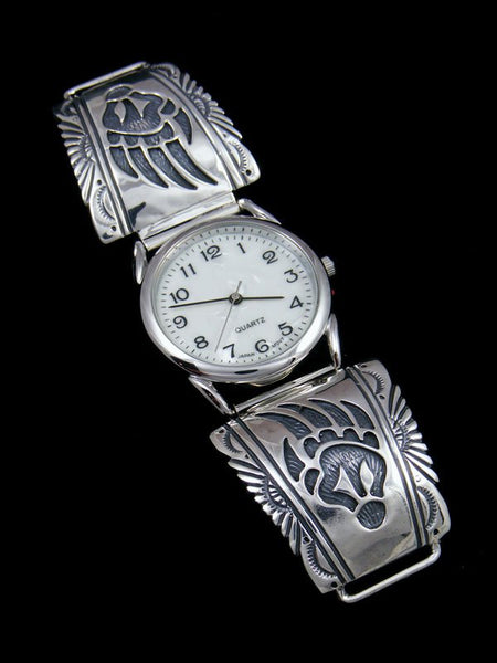Native American Indian Jewelry Sterling Silver Bear Paw Men's Watch