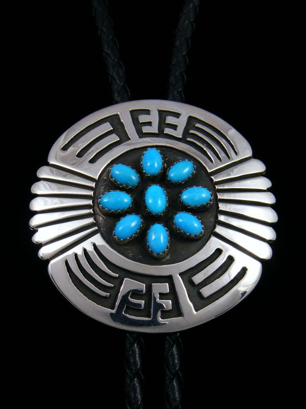 Native American Indian Sterling Silver Turquoise Bolo Tie
