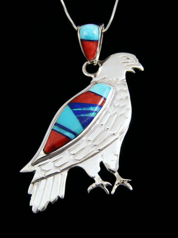 Inlay Eagle Pendant by Calvin Begay - PuebloDirect.com