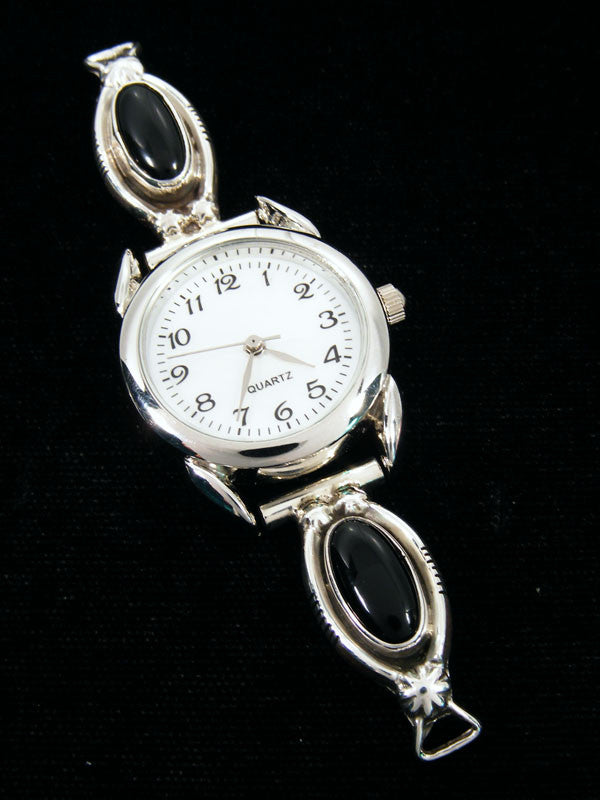 Native American Indian Jewelry Sterling Silver Onyx Ladies' Watch by Navajo Artist - PuebloDirect.com