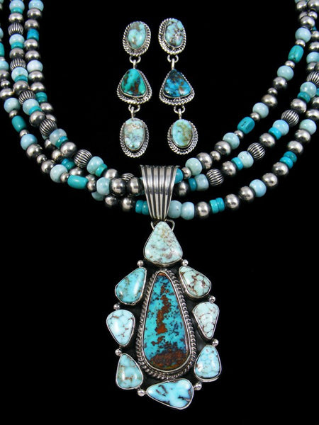 Native American Sterling Silver Turquoise Beaded Necklace Set
