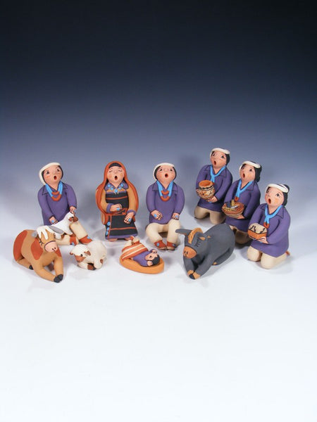 10 Piece Jemez Pueblo Pottery Nativity Set