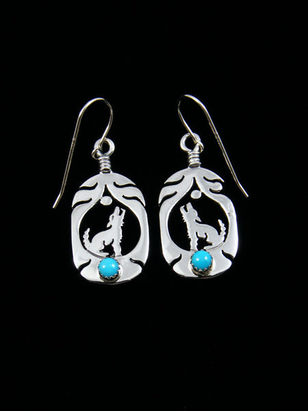 Sterling Silver Howling Coyote Turquoise Dangle Earrings
