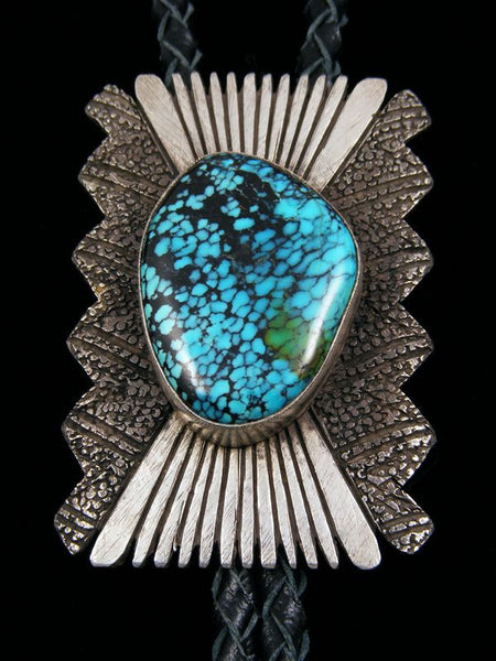 Old Pawn Indian Sterling Silver Turquoise Bolo Tie by S B - PuebloDirect.com - 1