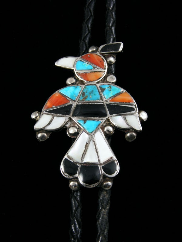 Old Pawn Zuni Indian Jewelry Bolo Tie by Vintage Jewelry - PuebloDirect.com - 1