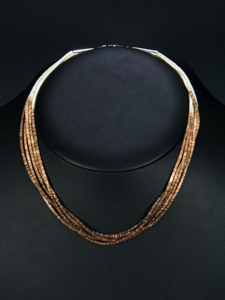 Native American Santo Domingo 5 Strand Heishi Choker Necklace