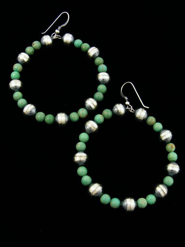 Turquoise Hoop Earrings by Navajo Artist - PuebloDirect.com