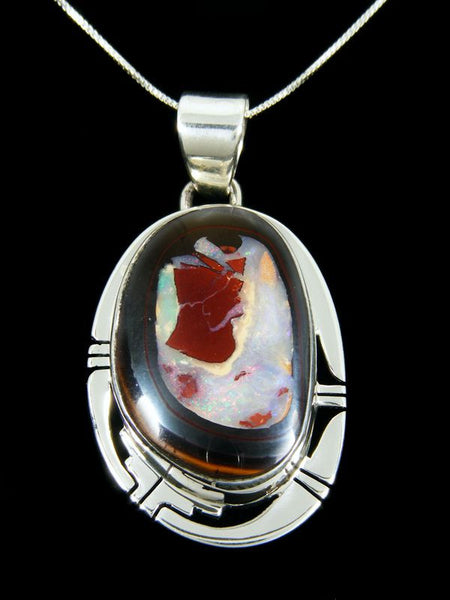Native American Indian Jewelry Yowah Boulder Opal Pendant by Phil Sanchez - PuebloDirect.com