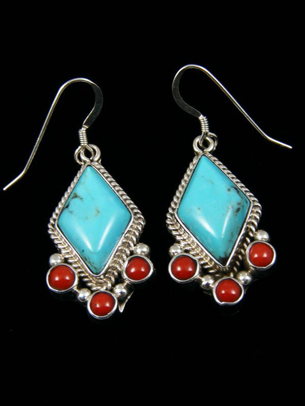 Turquoise and coral Earrings by Navajo Artist - PuebloDirect.com