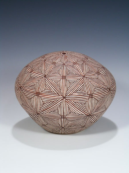 Acoma Hand Coiled Pueblo Pottery Seed Pot