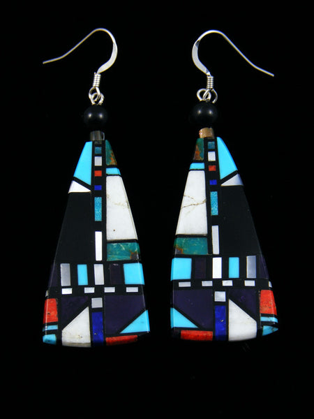 Santo Domingo Inlay Dangle Black Jet Earrings
