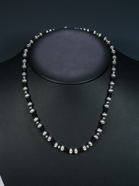 Navajo Black Onyx Sterling Silver Bead Choker Necklace