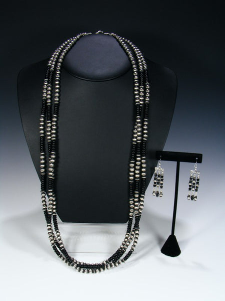 Native American Sterling Silver and Onyx Three Strand Bead Necklace Set