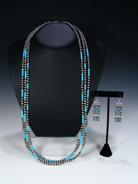 Native American Sterling Silver and Turquoise Three Strand Bead Necklace Set