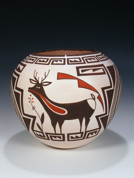 Acoma Pueblo Pottery Hand Coiled Deer Heartline Bowl