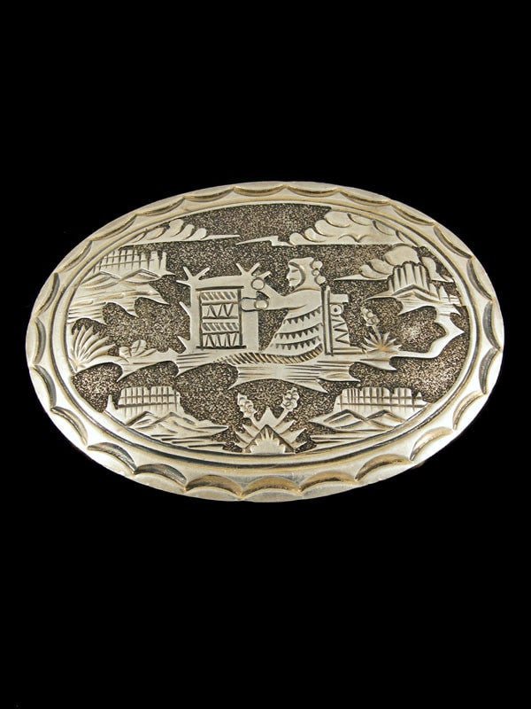 Old Pawn Indian Jewelry Sterling Silver Belt Buckle by Vintage Jewelry - PuebloDirect.com