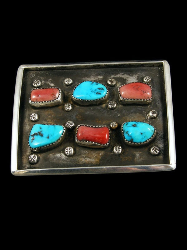 Old Pawn Indian Jewelry Turquoise and Coral Belt Buckle by Vintage Jewelry - PuebloDirect.com