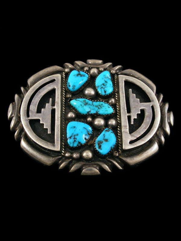 Sterling Silver Native American Turquoise Belt Buckle by Wilson Begay - PuebloDirect.com - 1