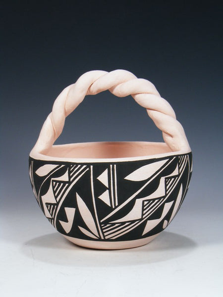 Acoma Pueblo Hand Coiled Pottery Basket