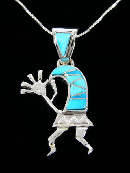 Inlay Kokopelli Pendant by Calvin Begay - PuebloDirect.com