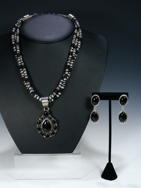 Native American Black Onyx Necklace and Earrings Set