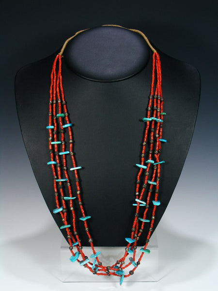 Santo Domingo Jewelry Natural Coral and Turquoise Necklace