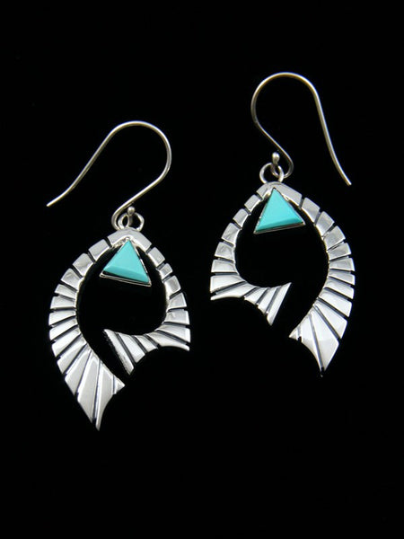 Kingman Turquoise Navajo Dangle Earrings
