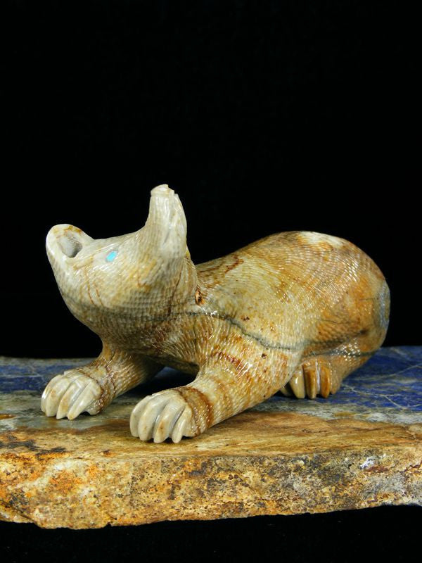 Picasso Marble Badger Zuni Fetish by Randy Lucio - PuebloDirect.com - 1