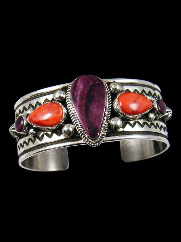 Native American Purple and Red Spiny Oyster Bracelet by Albert Jake - PuebloDirect.com - 1
