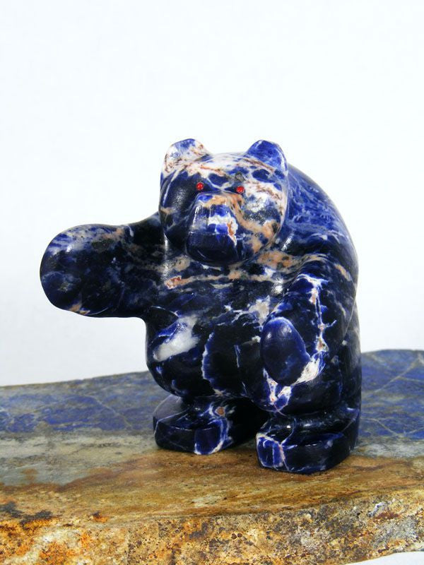 Sodalite Bear Zuni Fetish by Brion Hattie - PuebloDirect.com - 1