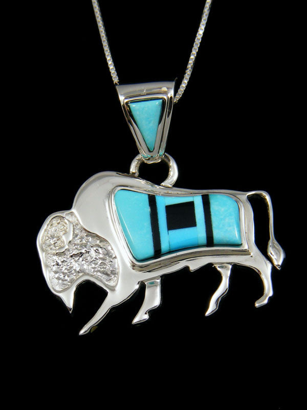 Inlay Buffalo Pendant by Calvin Begay - PuebloDirect.com