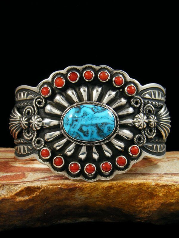 Native American Indian Jewelry Sterling Silver Turquoise and Coral Bracelet by Darrell Cadman - PuebloDirect.com - 1