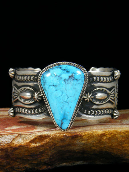 Native American Indian Jewelry Turquoise Bracelet by Darrell Cadman - PuebloDirect.com - 1