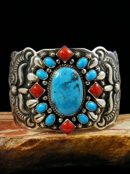 Native American Turquoie and Coral Bracelet by Darryl Becenti - PuebloDirect.com - 1