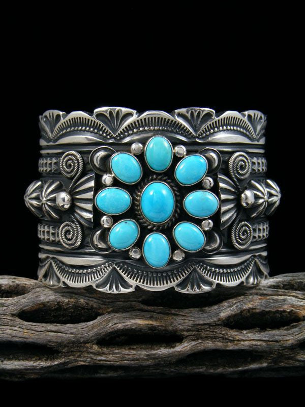 Native American Sterling Silver  Turquoise Cuff Bracelet by Delbert Gordon - PuebloDirect.com - 1