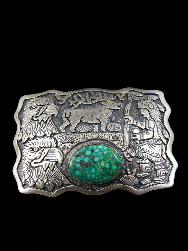 Native American Kingman Turquoise Belt Buckle by Freddy Charley - PuebloDirect.com - 1