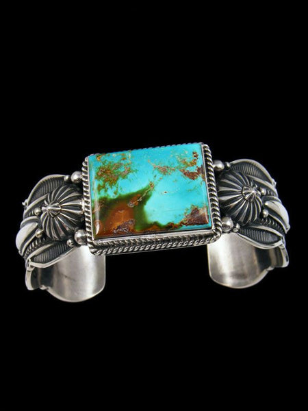 Native American Indian Jewelry Sterling Silver Turquoise Bracelet by Gene Natan - PuebloDirect.com - 1