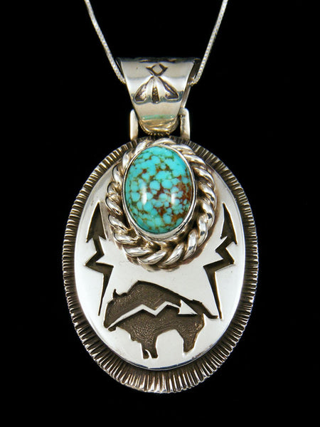 Native American Sterling Silver Turquoise Pendant by Kerah Tsosie - PuebloDirect.com