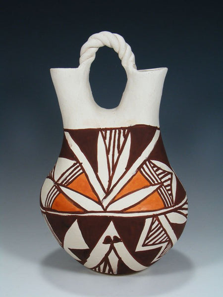 Acoma Hand Coiled Pueblo Pottery Wedding Vase