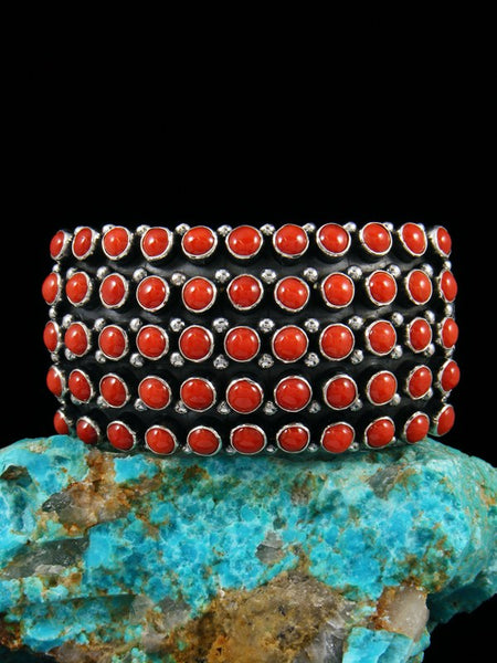 Native American Sterling Silver Natural Coral Row Bracelet
