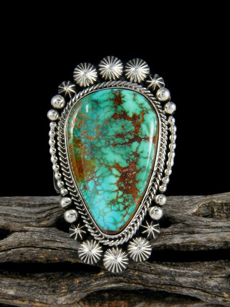 Natural Royston Turquoise Sterling Silver Ring, Size 8 1/2