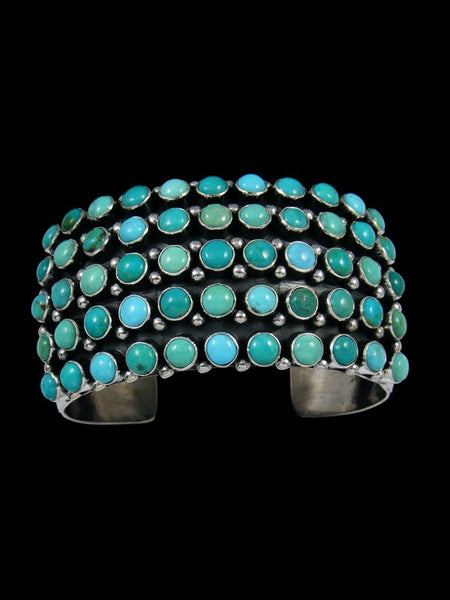 Native American Natural Kingman Turquoise Row Bracelet
