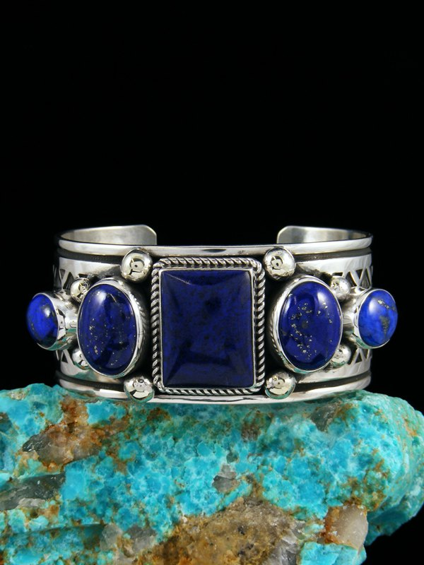 Native American Indian Jewelry Sterling Silver Natural Lapis Bracelet