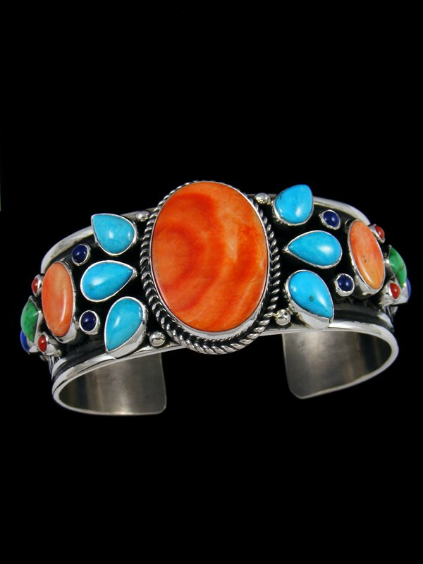 Native American Spiny Oyster and Sleeping Beauty Turquoise Bracelet